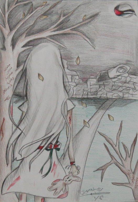 من خلال رسوماتهم الفنية الحرب تجتاح وجدان الطلبة بغزة مرفق